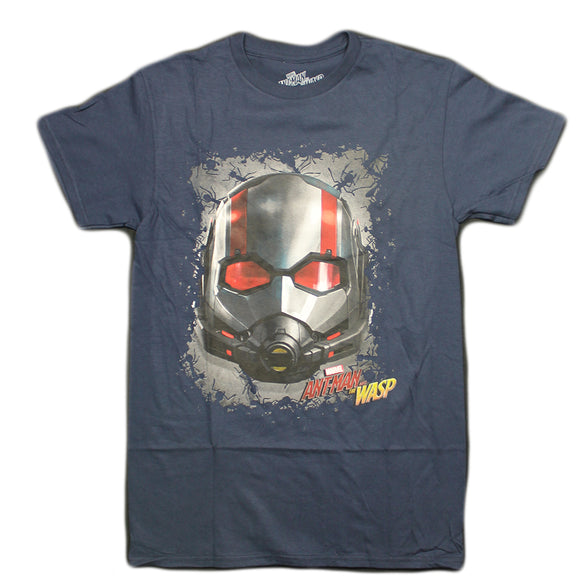 Mens Marvel AntMan Mask Wasp Navy Blue Tee T-Shirt