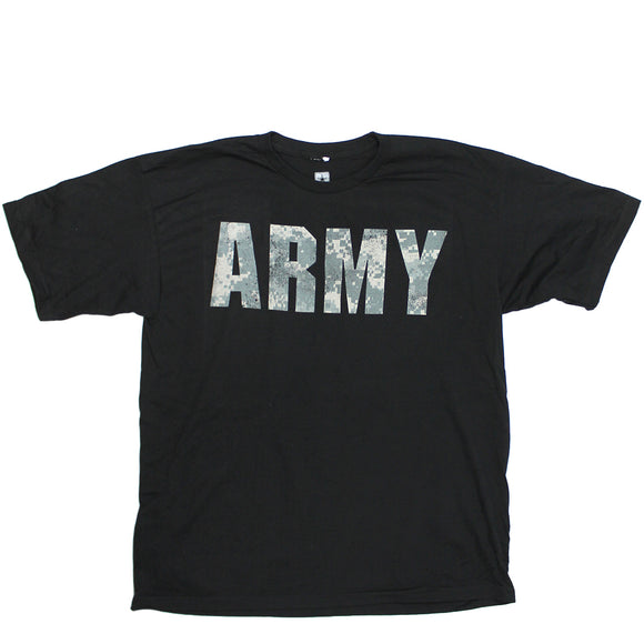 Mens Black ARMY Distressed Desert Camo Logo Tee T Shirt