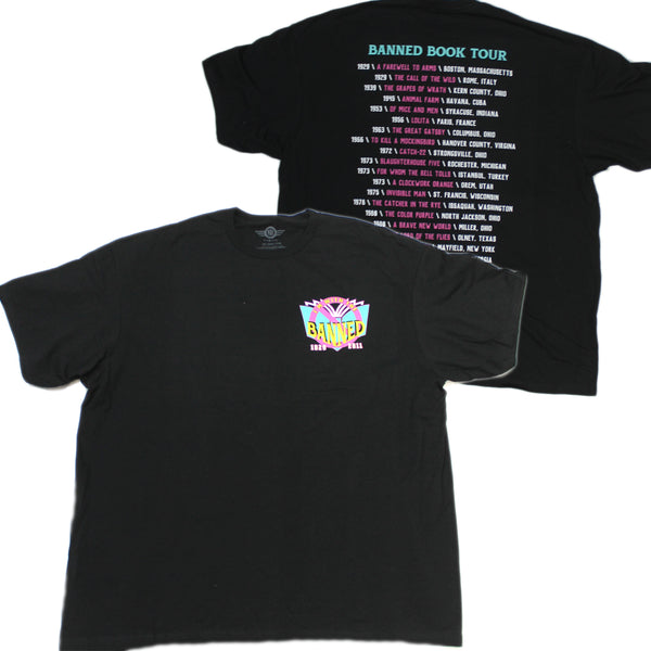 Mens Black Banned Books Tour List Tee Tshirt