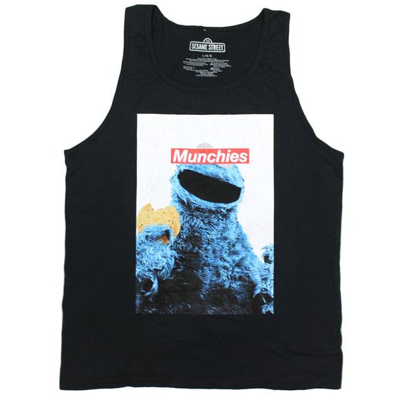 Mens Black Cookie Monster Munchies Box Logo Sesame Street Tank Top