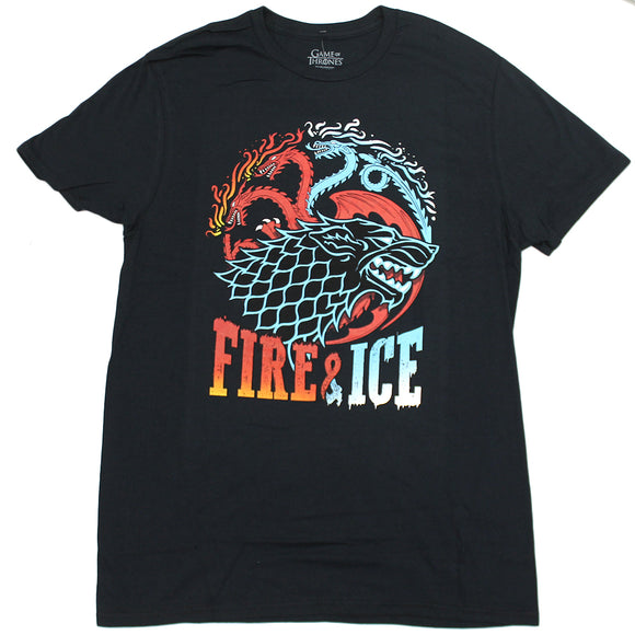 Mens Black Game of Thrones Fire & Ice Dragons Wolf Tee T Shirt