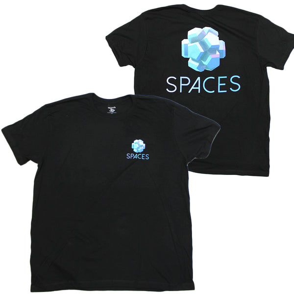 Mens Black Spaces Geometric Gradient Backprint Graphic Tee T Shirt