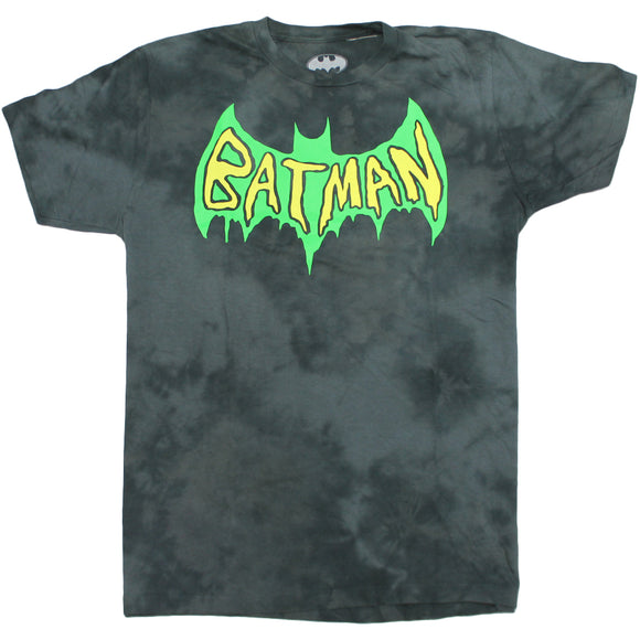 Mens Grey Tie Dye DC Comic Batman Logo Tee Tshirt