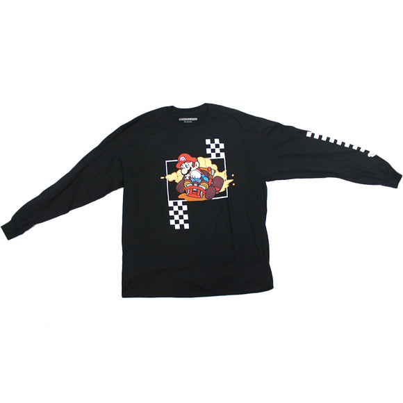 Mens Black Mariokart Super Mario racing Checkered Flag Nintendo Graphic Long Sleeve Tee T-Shirt