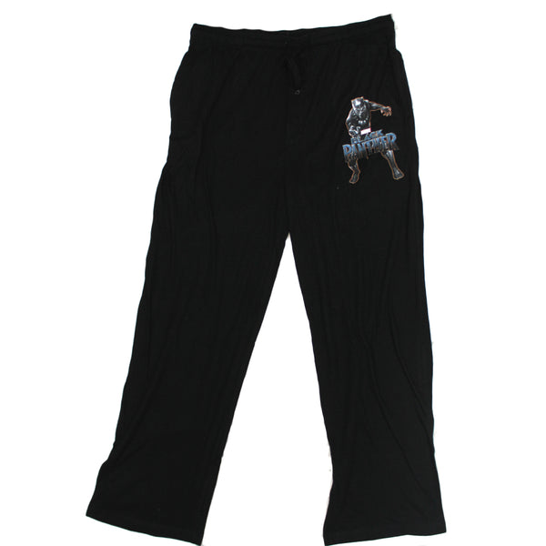 Mens Black Marvel's The Black Panther Action Print Sleep Lounge Pants Pajama Bottoms