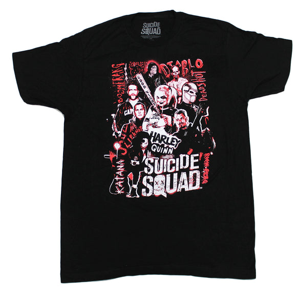 Mens Black Red Suicide Squad Characters Movie Tee T-Shirt
