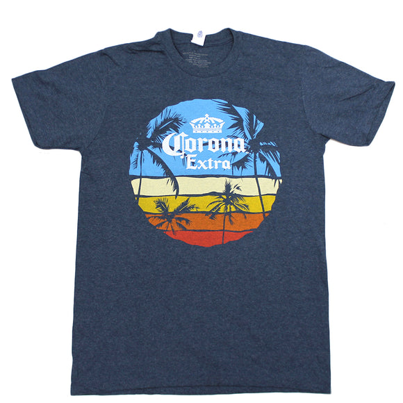 Mens Blue Heather Corona Extra Circle Sunset Graphic Tee T-Shirt