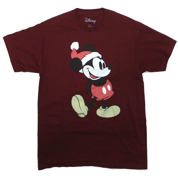 Mens Burgundy Red Mickey Mouse Christmas Disney Retro Tee T Shirt