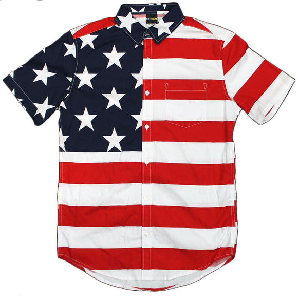 Mens Red White & Blue American Flag Button Up Pocket Shirt