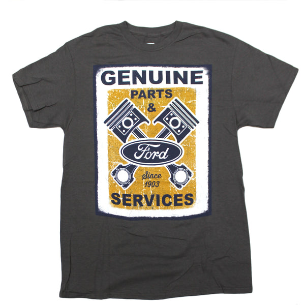 Mens Genuine Ford Parts & Service Since 1903 Engine Grey Tee T Shirt