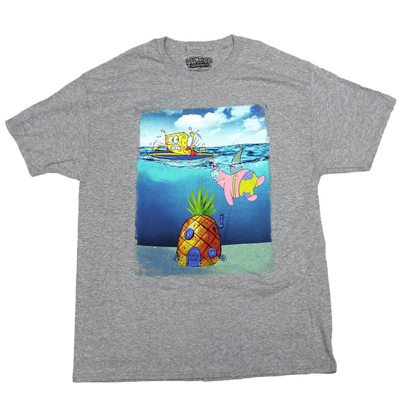Mens Grey Heather Spongebob Squarepants Patrick Shark Prank Nickelodeon Tee T Shirt