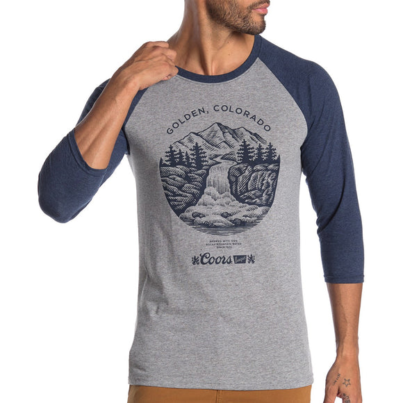Mens Gray Blue Coors Golden Colorado Raglan Tee Tshirt