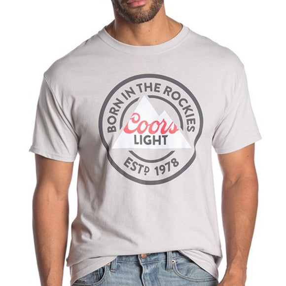 Mens Gray Coors Light Born In the Rockies Crew Neck Tee Tshirt