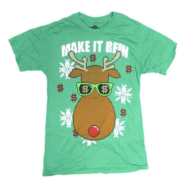 Mens Green Heather Rudolph Red Noise Reindeer Make It Rein Textured Print Graphic Tee Tshirt