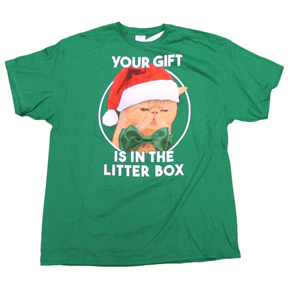 Mens Green Cat Your Gift Is In The Litter Box  Funny Holiday T-Shirt Tee