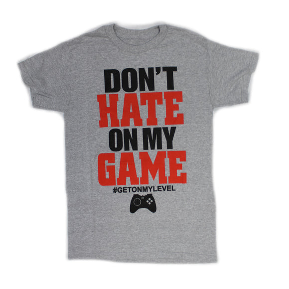 Men's Grey Heather Dont Hate On My Game Video Game Text Graphic Tee T shirt