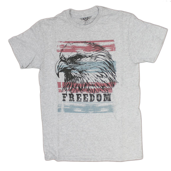 daa6597c Mens Grey Heather Eagle Freedom Red & Blue Stars and Stripes Graphic Tee  Tshirt