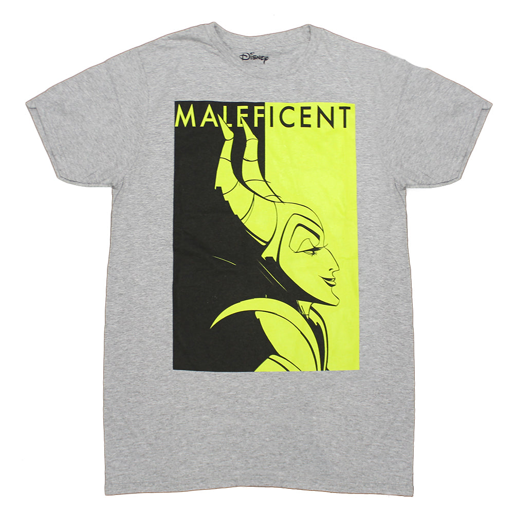 Mens Grey Heather Maleficent Color Block Disney Tee T Shirt