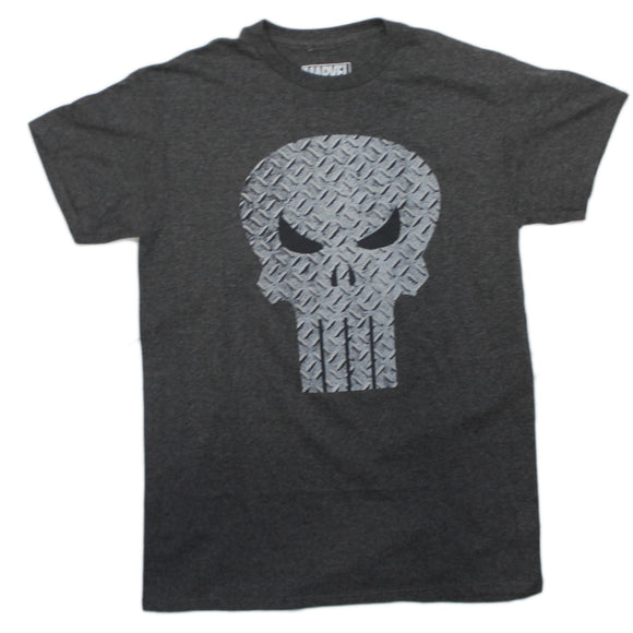 Mens Grey Heather Marvel The Punisher Skull Metal Logo Tee T Shirt