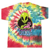 Mens Rainbow Tie Dye Chill Alien Cat Tee T Shirt
