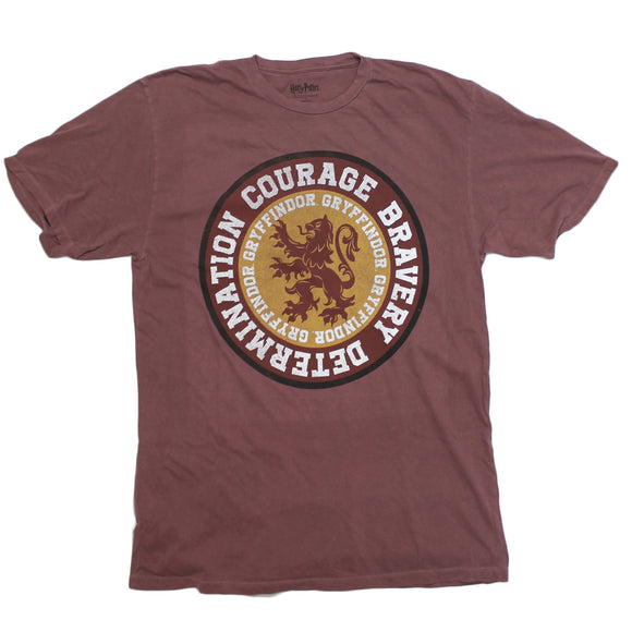 Mens Maroon Faded Harry Potter Gryffindor Logo Lion Badge School Hogwarts Courage Bravery Determination T-Shirt Tee