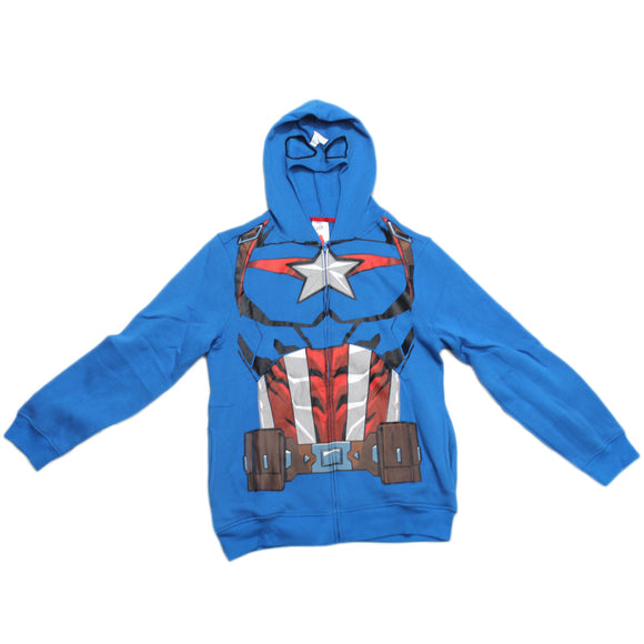 Mens Marvel Captain America Character Zip Front Hoodie Movie