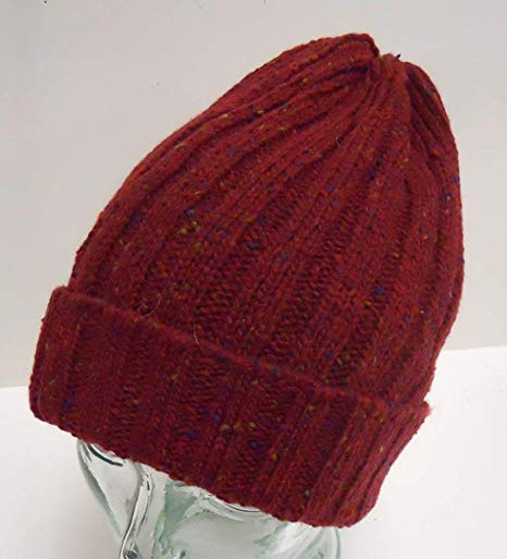 Adult Woven Red Pom Cuffed Beanie Winter Cap