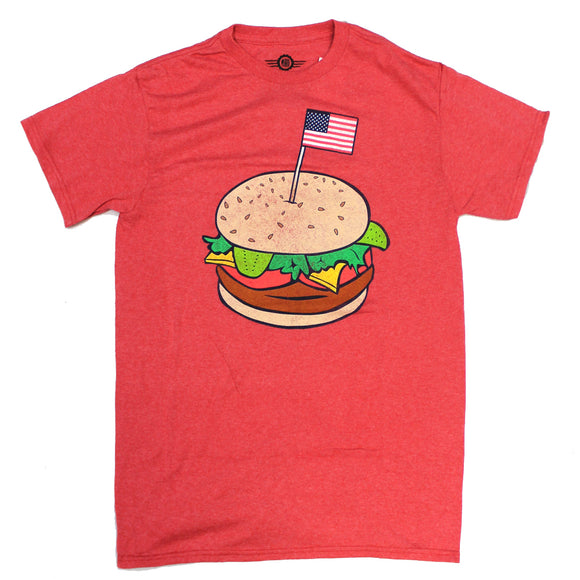 Mens Red Heather Faded Hamburger USA Flag Graphic Tee Tshirt