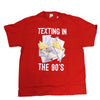 Men's Red Retro Texting In The 90s School Notes Graphic Tee T-shirt