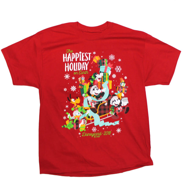 Mens Red The Happiest Holiday on Earth Disneyland 2018 Resort Mickey Mouse Christmas Tee Tshirt
