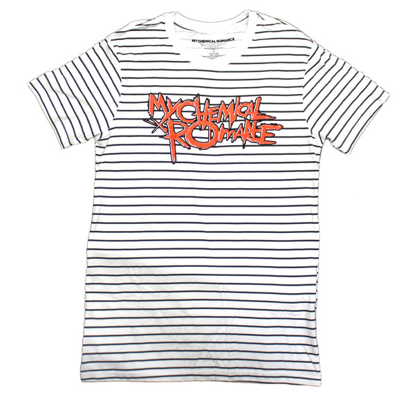 Mens White & Black Stripes My Chemical Romance Band Logo Graphic Tee Tshirt