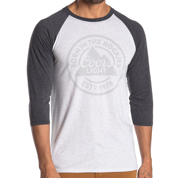 Mens White Gray Coors Light Born In the Rockies Raglan Tee Tshirt