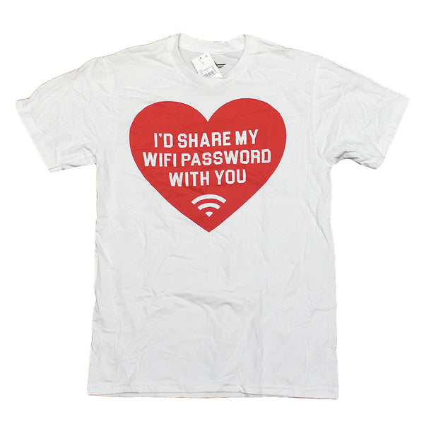 Mens White Heart Id Share My WiFi Password With You Funny Graphic Tee T-Shirt