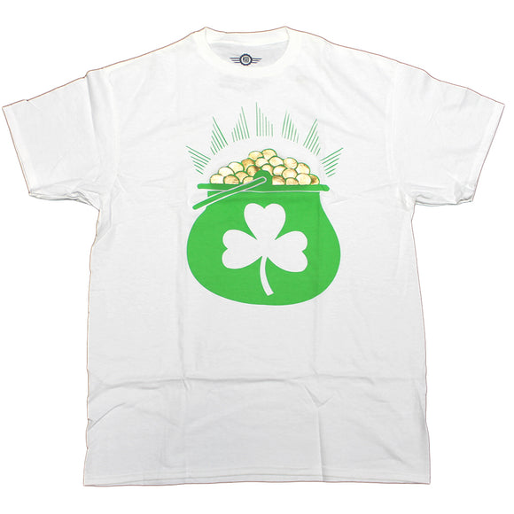 Mens White Pot Of Gold Lucky Clover Shiny Graphic Tee T-Shirt