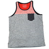 Mens Blue White & Blue Faded Stars & Stripes Pocket Tank Top