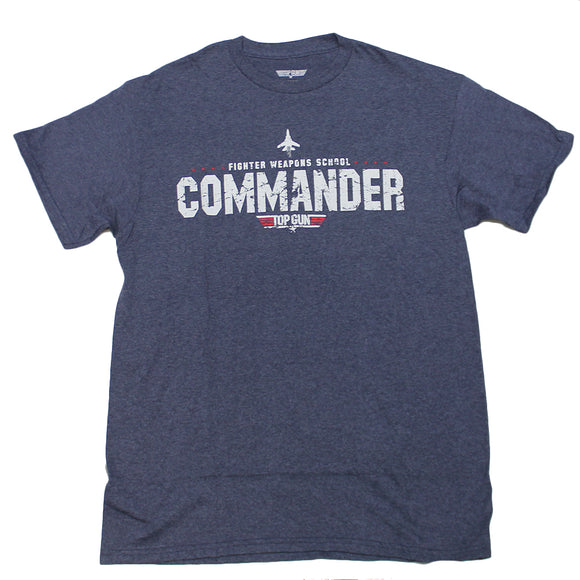 Mens Blue Heather Top Gun Commander Graphic Tee T-Shirt