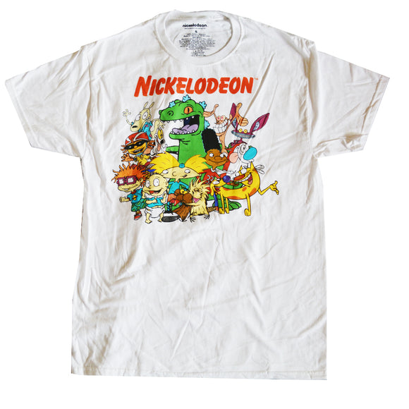 Men's White Nickelodeon 90's Cartoon Graphic Tee T-Shirt
