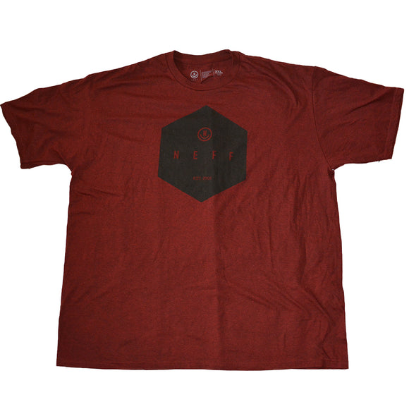 Mens Red Burgundy Neff Geometric Graphic Tee T-Shirt