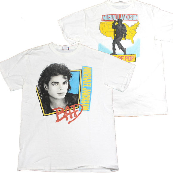White Junk Food Michael Jackson Bad Graphic Tee T-Shirt