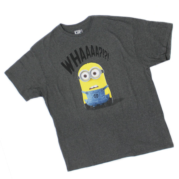 Mens Whaaaa?!?! Despicable Me Minions Whaa Charcoal Tee T Shirt