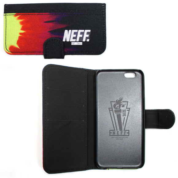 Neff I phone 6 Apple Phone Cover Case Wallet Rainbow Snowboarding