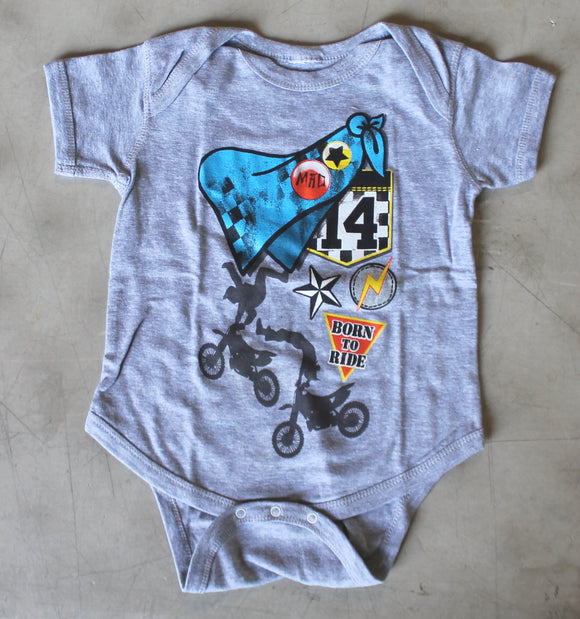 Newborn onesie gray bike Ride Mad Born to Ride