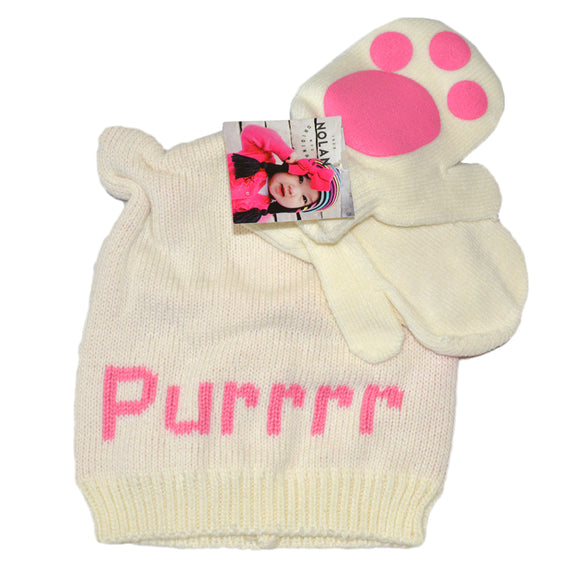 Nolan Originals Toddlers Beanie & Gloves Set Purr
