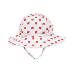 Nolan White Red Pattern Baby Bucket Hat 12-24M