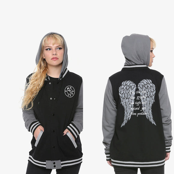 Womens Juniors Black & Grey Supernatural Castiel Hooded Jacket