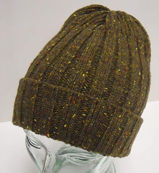 Adult Woven Green Olive Pom Cuffed Beanie Winter Cap
