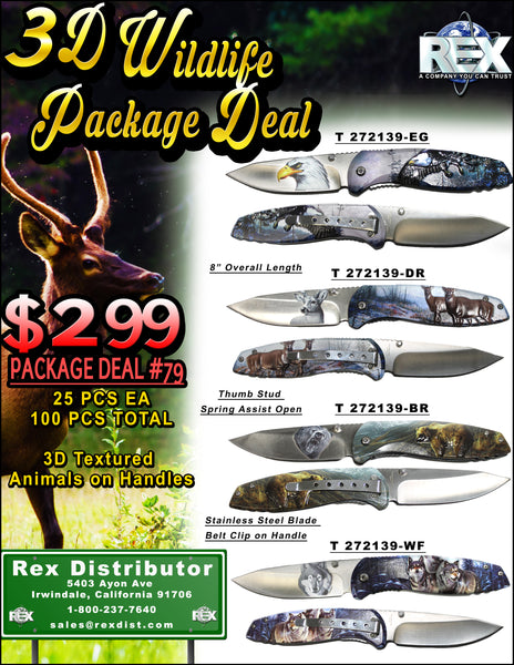 Package Deal #79 - 3D Wildlife Package Deal - 100 Total Animal Textured Handle Knives