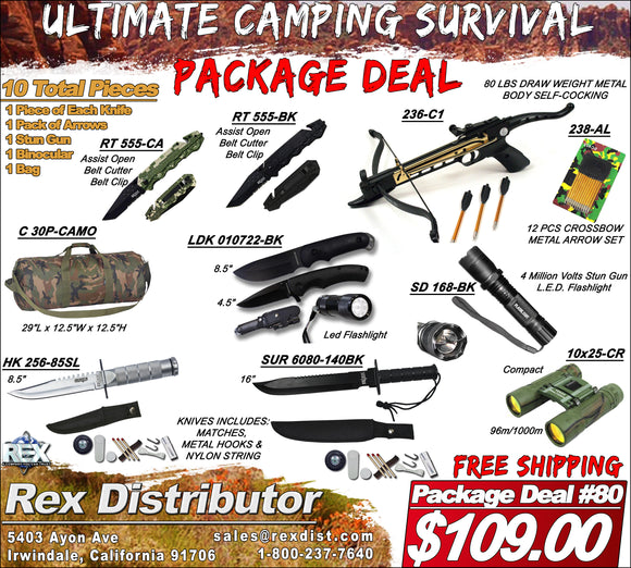 Package Deal #80 - Ultimate Camping Survival Package Deal - Crossbow Binoculars & Knives FREE SHIPPING