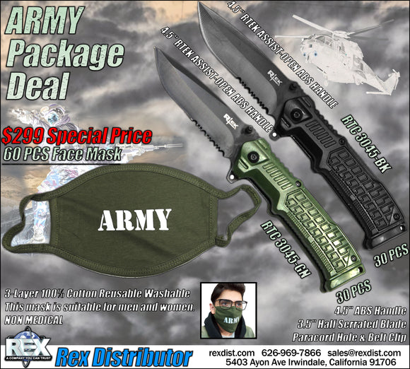 Package Deal #112- ARMY Face Mask & Knife Package Deal | Free Shipping