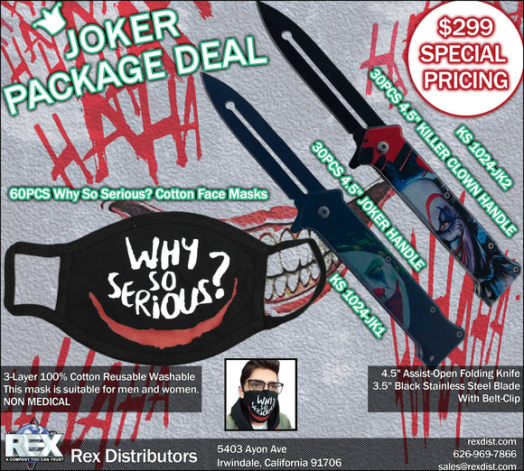 Package Deal #113- Joker Face Mask & Knife Package Deal | Free Shipping